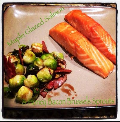Maple glazed salmon and honey bacon Brussels Sprouts